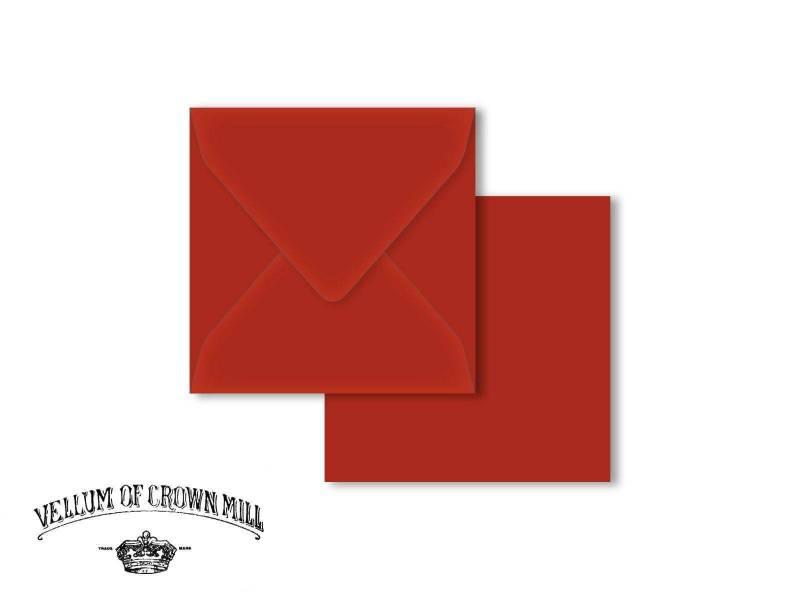 Enveloppe velin format 14x14cm - Vermillon