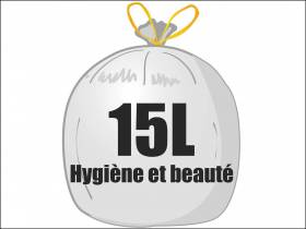 Sac poubelle PEMD 15L - Blanc