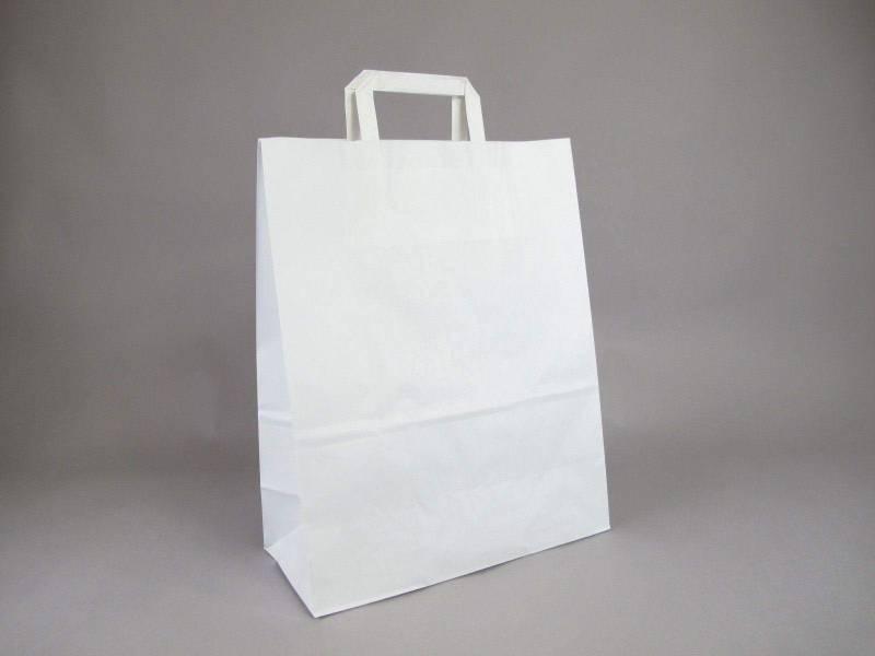 Sac en papier kraft, poignées plates XL - Blanc