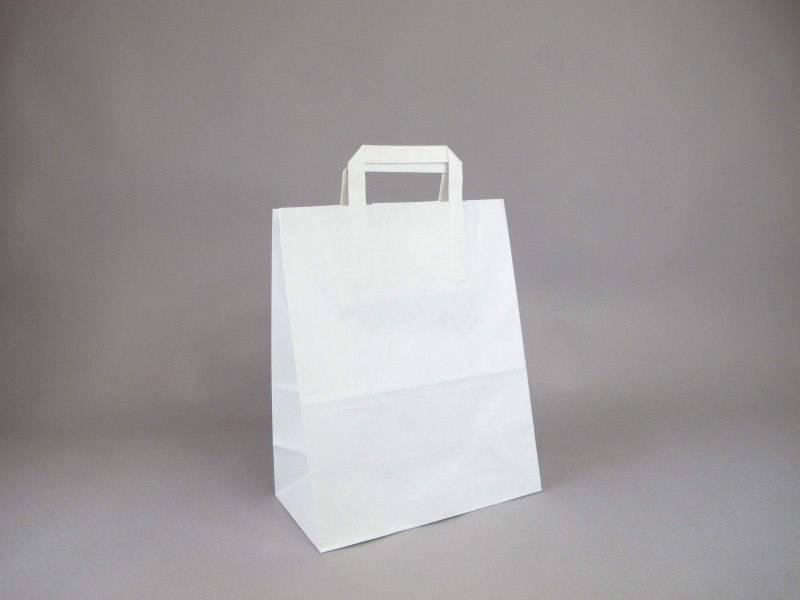 Sac en papier kraft, poignées plates M - Blanc