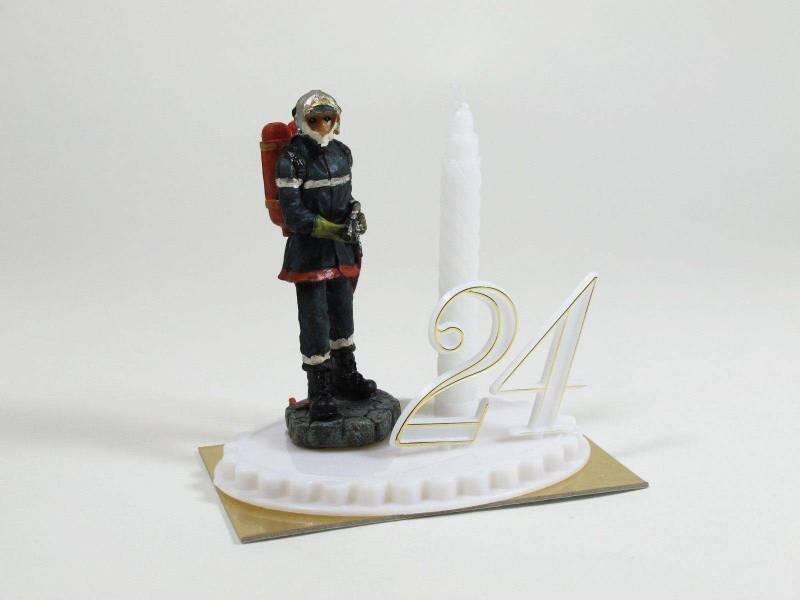 Bougie anniversaire décor pompier