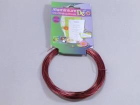 Fil Aluminium décoratif pour bijoux 1mm - Rouge Foncé
