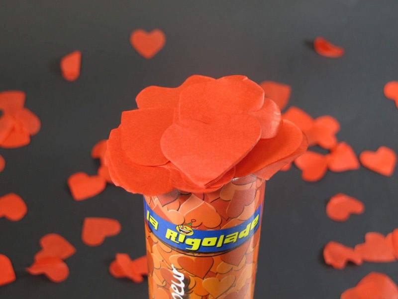 Petit Canon à confettis coeur - Rouge