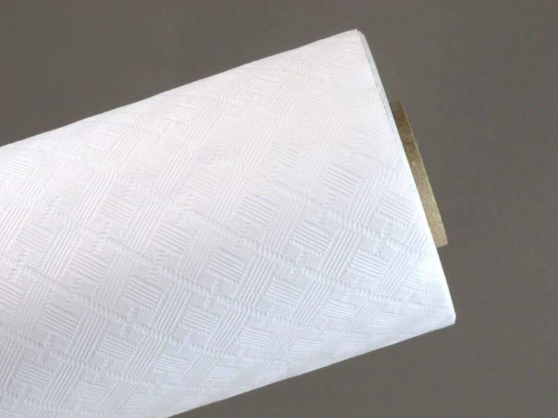 10m Nappe en papier damassé Mundo - Blanc
