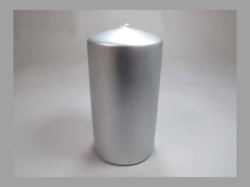 Bougie Cylindre - Métal Argent 10x6cm