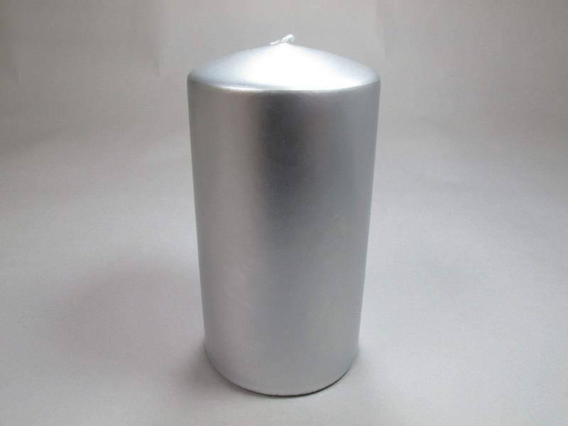 Bougie Cylindre - Métal Argent 15x8cm