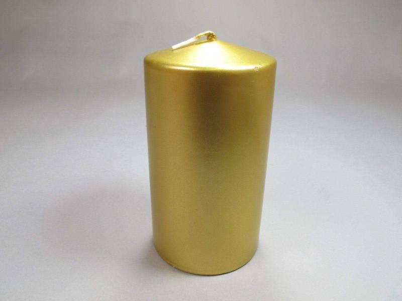 Bougie Cylindre - Métal Or 15x8cm