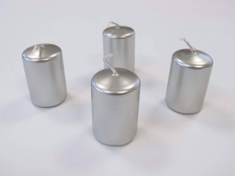 Bougie Cylindre - Métal Argent 6x4cm
