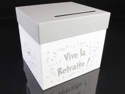 Urne, tirelire, cagnotte Vive la retraite - Blanc Argent