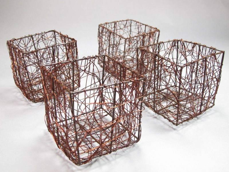 Pot tressé en fil de métal - Chocolat