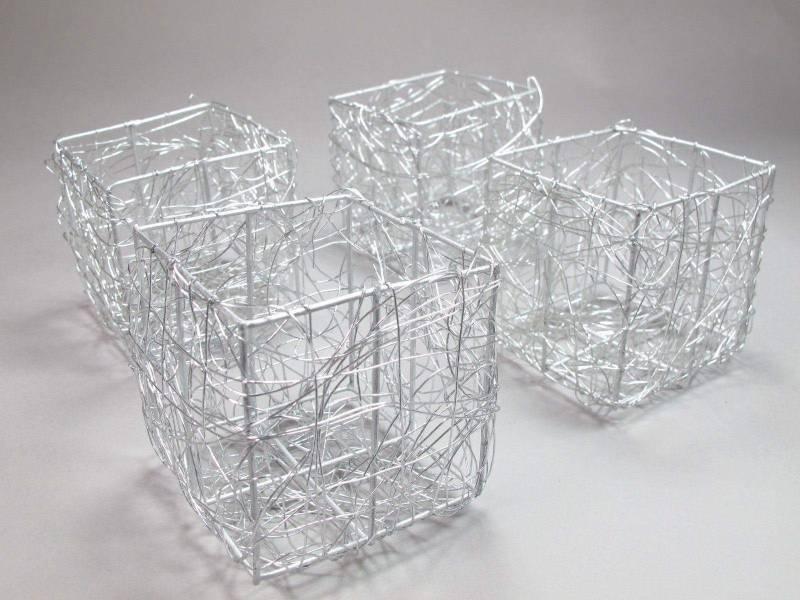 Pot tressé en fil de métal - Argent
