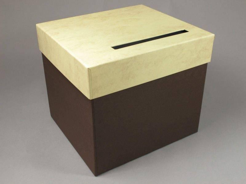 Urne mariage carrée - Chocolat Parchemin