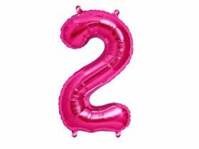 Ballon anniversaire chiffre 2 rose