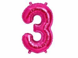 Ballon anniversaire chiffre 3 rose