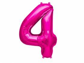 Ballon anniversaire chiffre 4 rose
