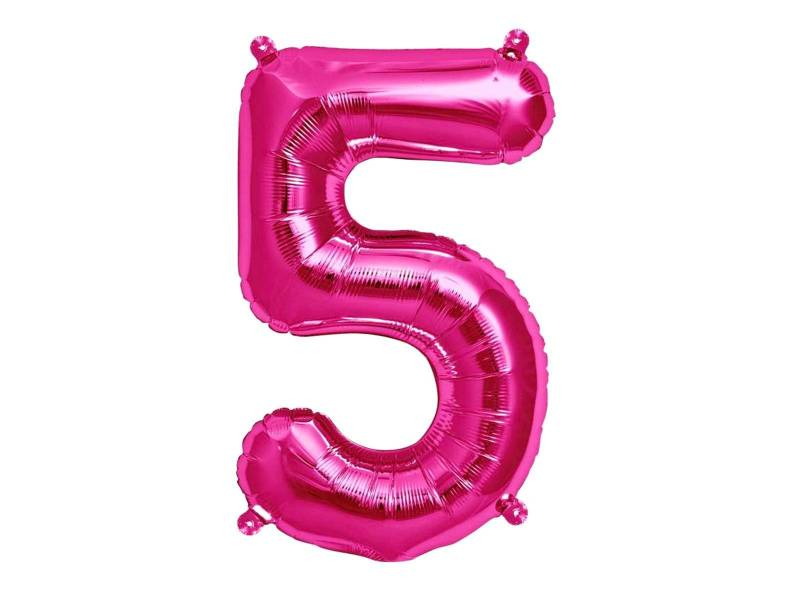 Ballon anniversaire chiffre 5 rose