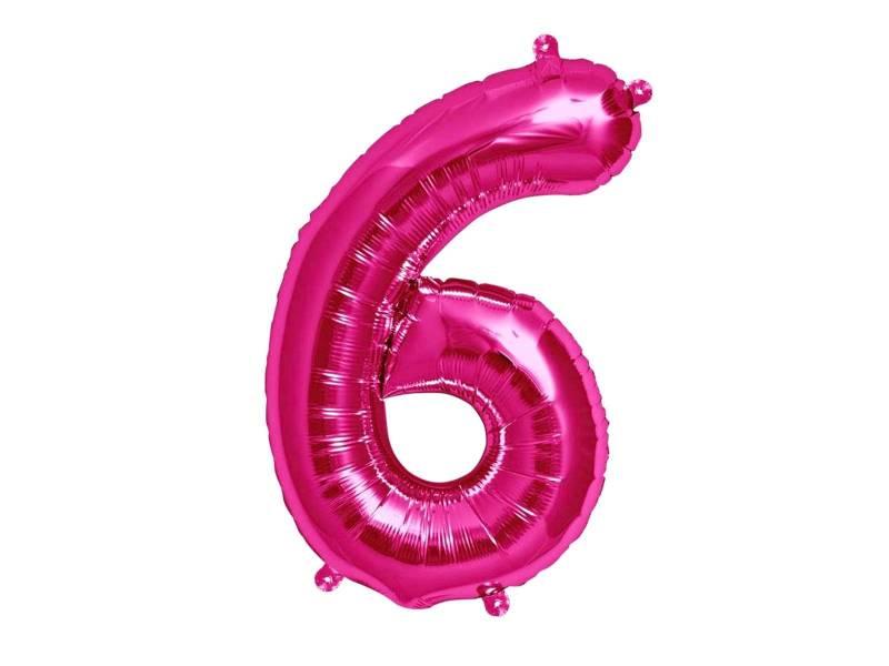Ballon anniversaire chiffre 6 rose