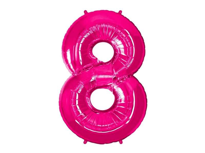 Ballon anniversaire chiffre 8 rose