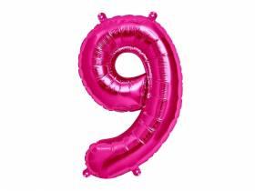 Ballon anniversaire chiffre 9 rose