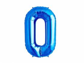 Ballon anniversaire chiffre 0 bleu