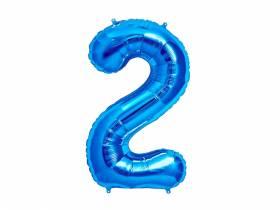 Ballon anniversaire chiffre 2 bleu