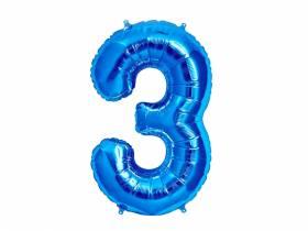 Ballon anniversaire chiffre 3 bleu