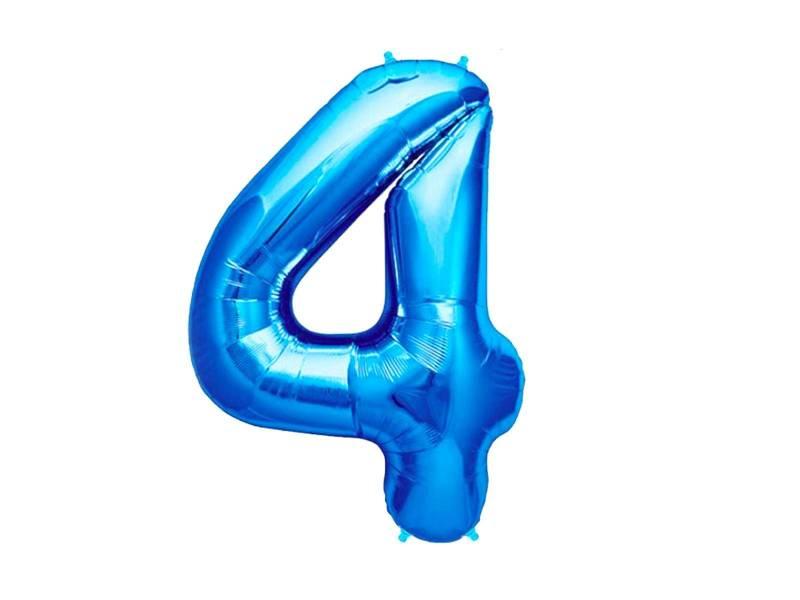 Ballon anniversaire chiffre 4 bleu
