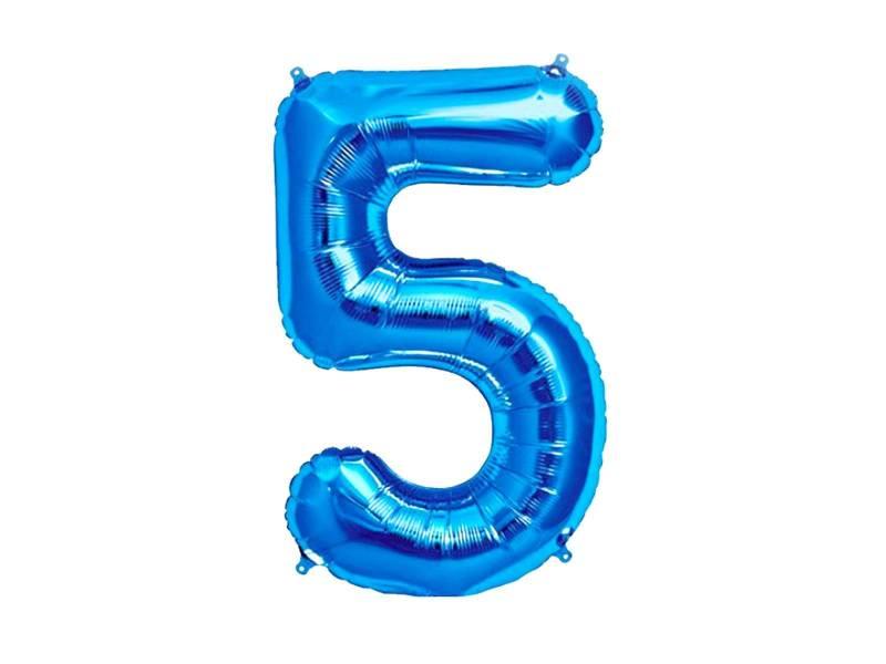 Ballon anniversaire chiffre 5 bleu