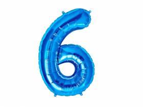 Ballon anniversaire chiffre 6 bleu