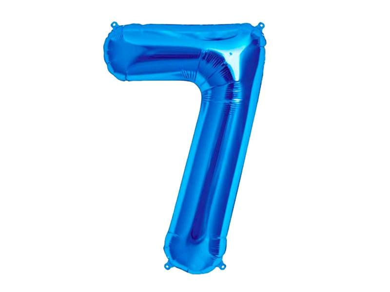 Ballon anniversaire chiffre 7 bleu