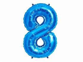 Ballon anniversaire chiffre 8 bleu
