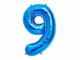 Ballon anniversaire chiffre 9 bleu