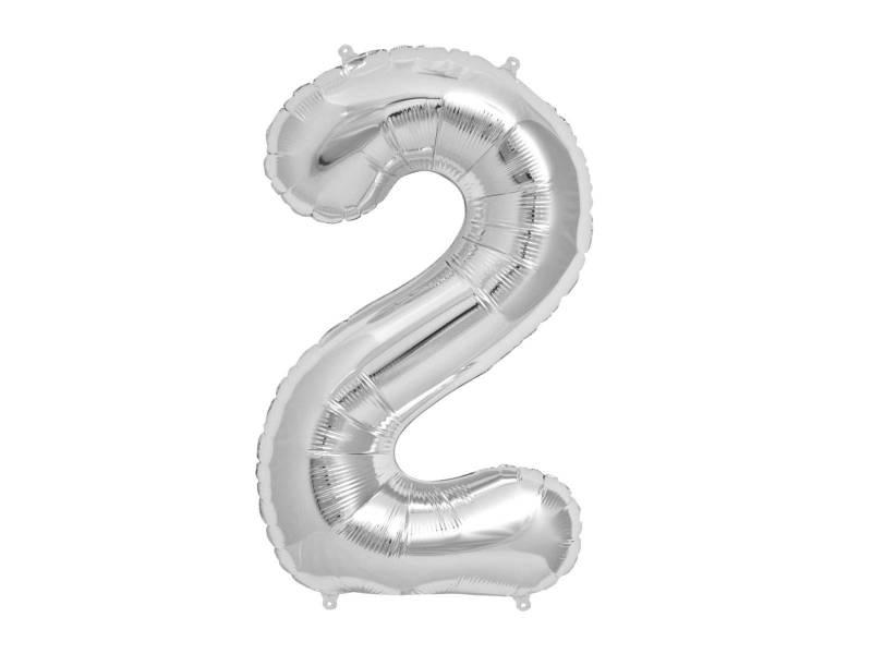 Ballon anniversaire chiffre 2 argent