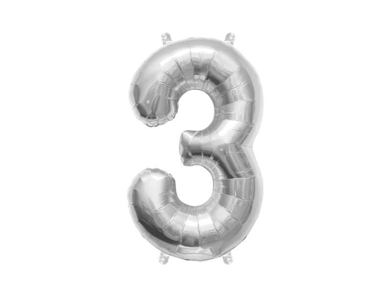 Ballon anniversaire chiffre 3 argent