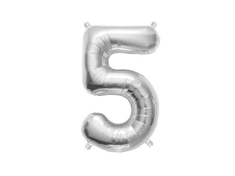 Ballon anniversaire chiffre 5 argent