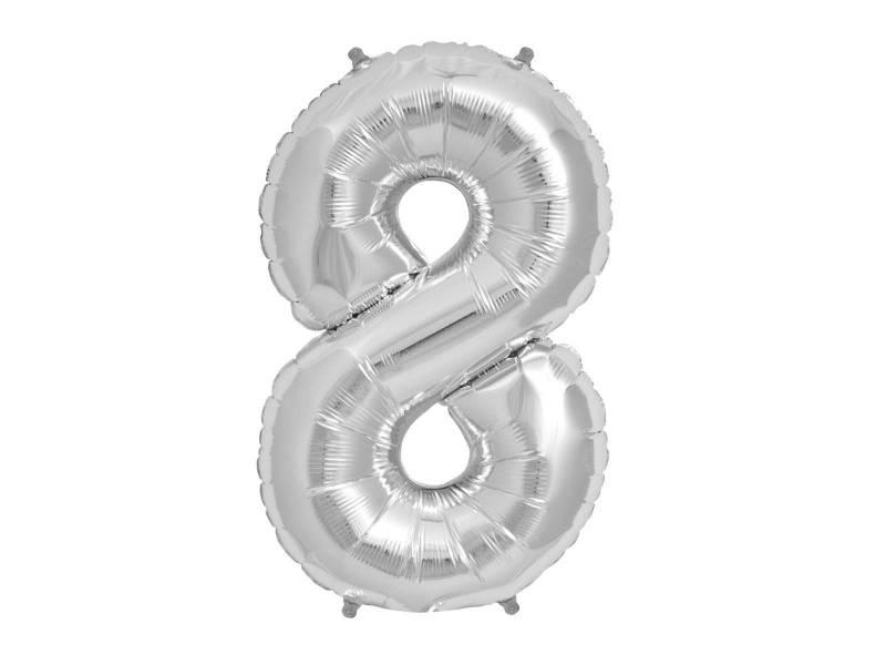 Ballon anniversaire chiffre 8 argent
