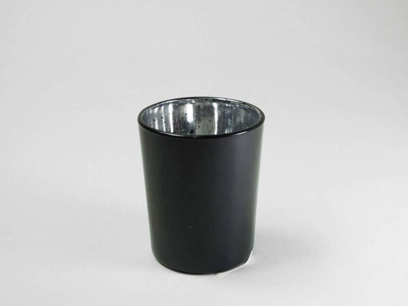 Bougeoir en verre métallisé - Noir