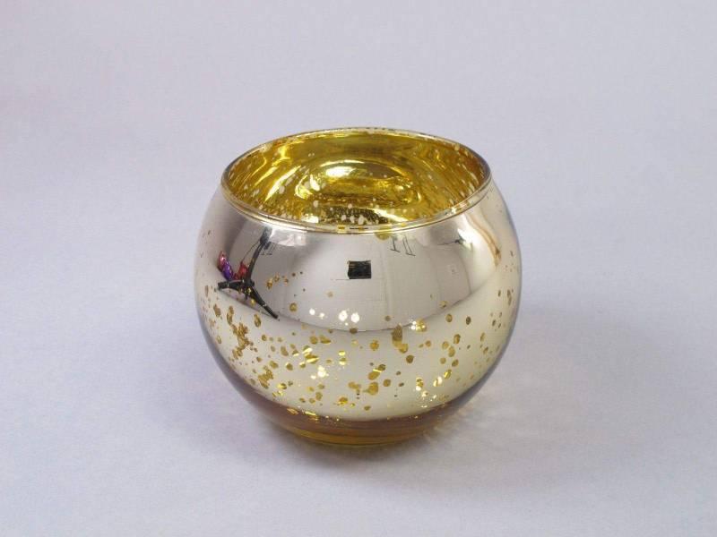 Bougeoir boule en verre métallisé - Or