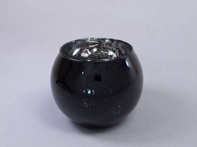 Bougeoir boule en verre métallisé - Noir