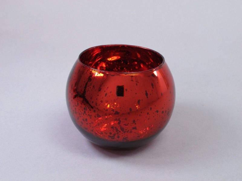 Bougeoir boule en verre métallisé - Rouge