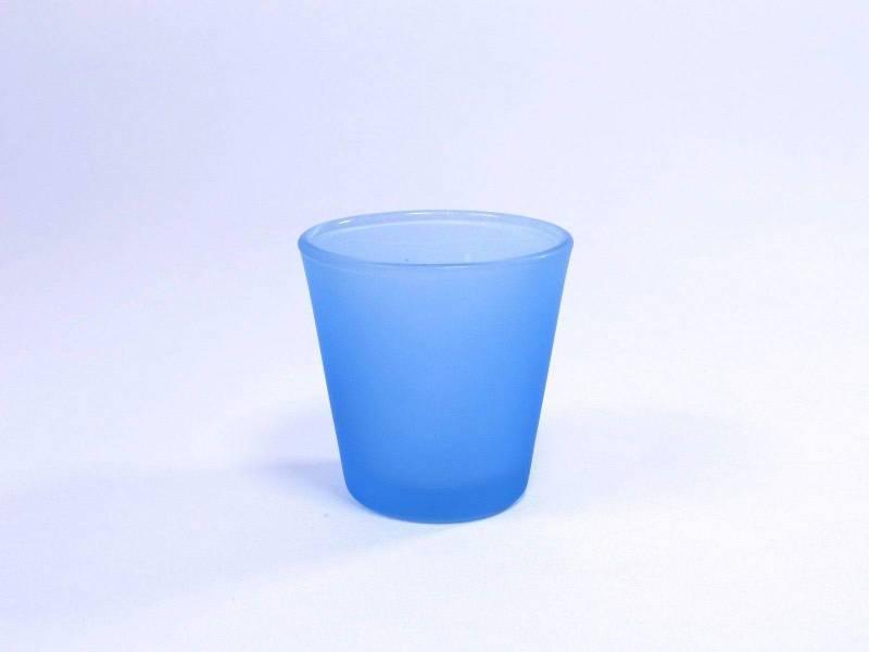 Bougeoir en verre - Bleu Ciel