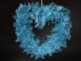 Grand Coeur creux plume - Turquoise