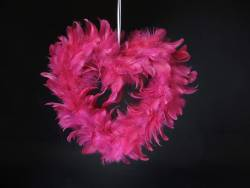 Petit Coeur creux plume - Fuchsia