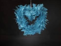 Petit Coeur creux plume - Turquoise