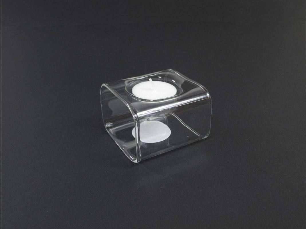 bloc bougeoir carr en verre 1 case. Black Bedroom Furniture Sets. Home Design Ideas