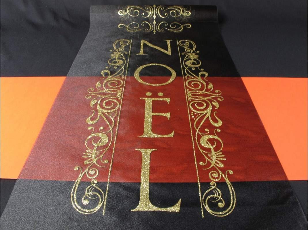 chemin de table noel pailette - noir - decofete-servimag