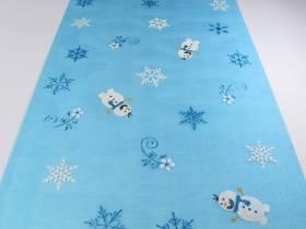 Chemin en organza motif bonhomme de neige - Bleu