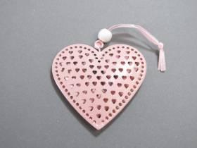 Coeur en métal à suspendre 7cm - Rose Pastel
