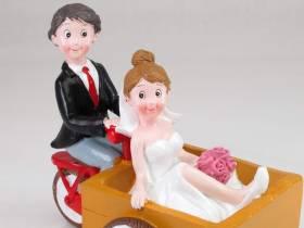 Figurine pour mariage - Couple en vélo cargo