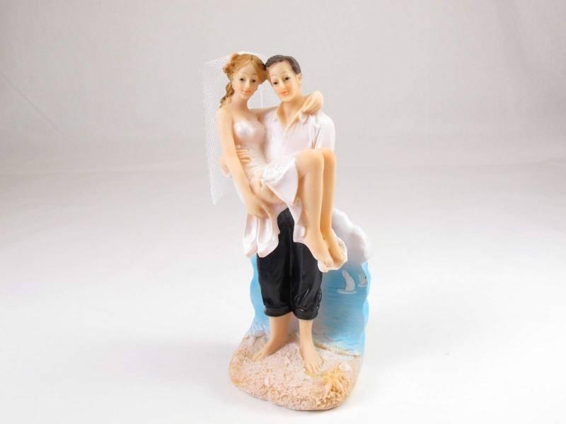 Figurine pour mariage - Couple de mariés à la plage